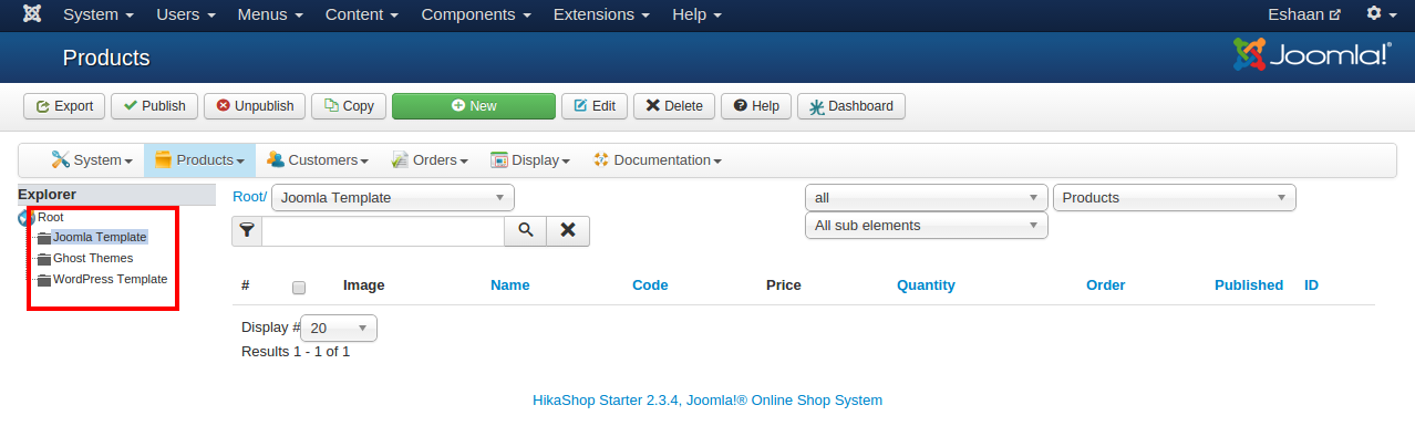 Extension site web e commerce Joomla Categorie Produit
